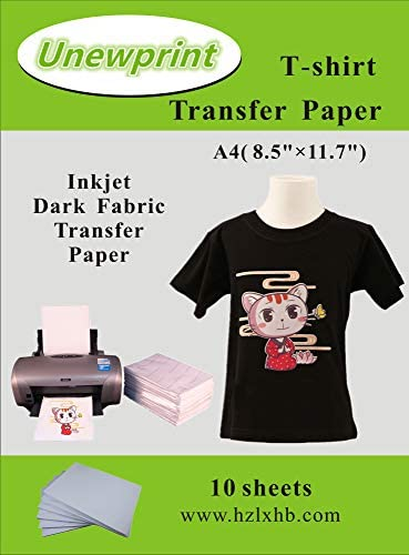 """Heat Transfer Paper for Dark Fabric, Inkjet Transfer Paper for t-Shirts, Customer Pack 10 Sheets, by Unewprint (8.3""""11.7"""")"""