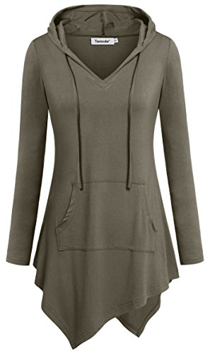 (Tencole Hoodies for women, V Neck Handkerchief Hem Autumn Outing Casual Blouses,Olive,Large)