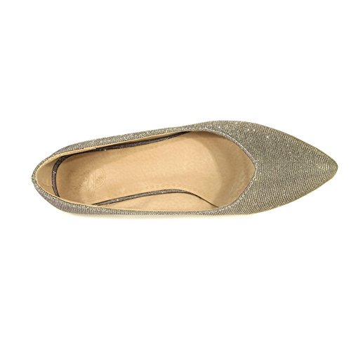 Balamasa Da Donna Tomaia Bassa Taglio A Punta Urethane Balletto-flats Oro