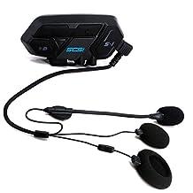 Helmet Communication System, Motorcycle Helmet Bluetooth Headset Intercom, Up to 4-6 Riders GROUP TALKING-500M Range, CSR Bluetooth 4.1 Version, 600mAh Battery, 15 Hours Working Time