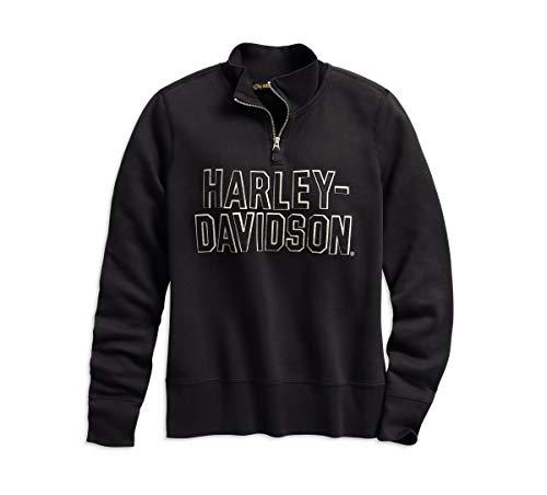 HARLEY-DAVIDSON Women's Felt Letter 1/4-Zip Pullover Sweater (2W Plus) Black from HARLEY-DAVIDSON