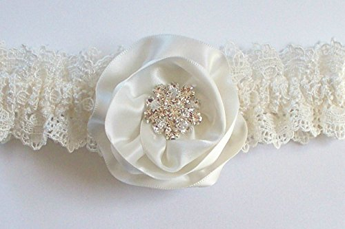Ivory Garter with Swarovski Crystal Centered Hand-Rolled Satin Ribbon Rose and Satin Band Toss - The CHRISTY Garter Set