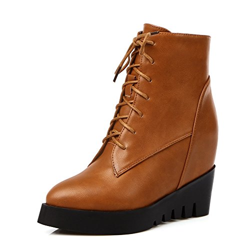 AmoonyFashion Women's Pointed Closed Toe Kitten-Heels Soft Material Low-top Solid Boots, Brown, 39