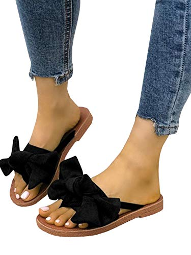 - FISACE Womens Summer Bow Tie Flip Flops Flat Sandals Anti-Slip Summer Beach Thong Slipper (9 M US, Black)