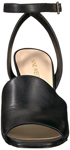 Nove Donne Ovest Cuoio Quilty Sandalo Tacco In Pelle Nera