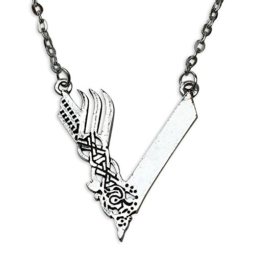 Viking Silver Tone Odin Necklace, TV Inspired
