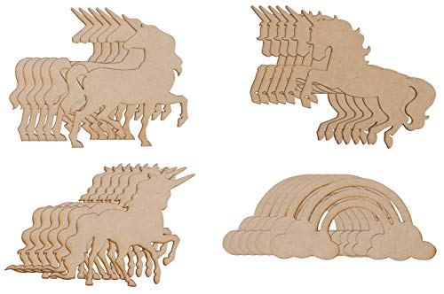 Wood Cutouts - 24-Pack Unfinished Wooden Cutouts, 4 Unicorns and Rainbow Shapes for DIY Arts and Crafts Projects, Decorations, Ornaments, 6 of Each - Ornament Craft Projects