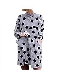 SNOWSONG Women's Fall Plain Tunic Tops Turtleneck Long Sleeve Shirt Dress with Pockets