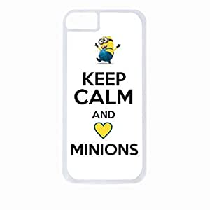 Keep Calm and Love Minions - Hard White Plastic Snap - On Case-Apple Iphone 6 Only - Great Quality!