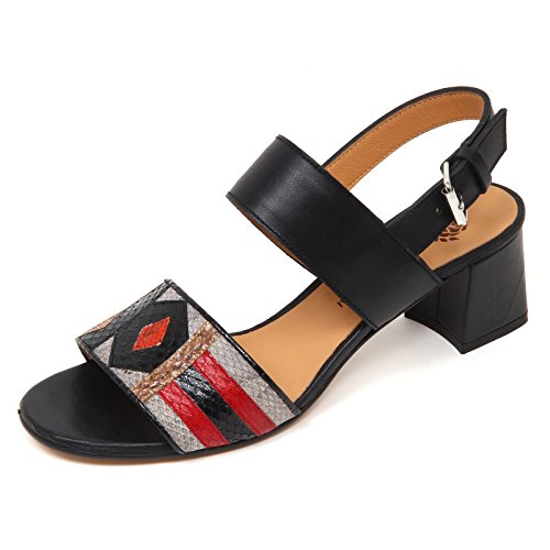 MALIPARMI Scarpe Patch Nero D0694 Woman Donna Sandalo Nero Art Shoe rnzrqXWTI