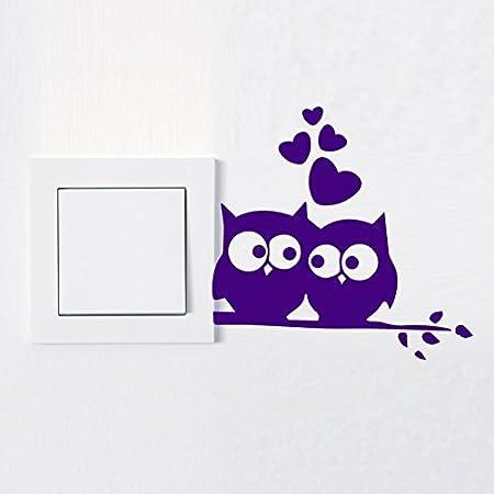Sticker mural en deiner la couleur D/ésir/ée Stickers Muraux//sticker-folie 10x9 cm Autocollant Interrupteur de lumi/ère chouette aime prise de courant amoureux Animal argent