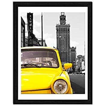 ElegartGallery 12x16 Picture Frames to Display 11x14 Documents with Mats Black Real Wood Photo Frames Wall Art Decorative for Living Room and Office Wall Decor