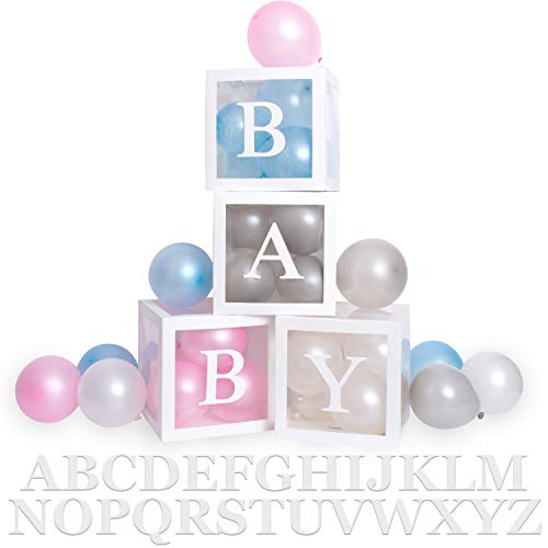 Baby Shower Gender Neutral Reveal Decorations Boxes for Boy and Girl - Includes 40 Balloons, 30 Letters, 4 Boxes