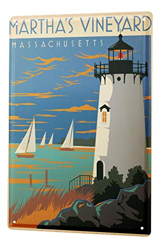 Tin Sign World Tour Martha 's Vineyard, Massachusetts Lighthouse Sailboat Island Metal Plate 8X12