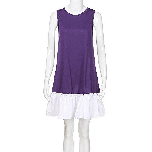 Patchwork Beil Kleider Minikleid Lila Verkauf ufigen Chanyuhui R Tunika Zum schen Am Tops Dame Frauen Saum Abend Party rmel 0qOwS