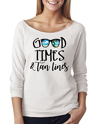 Good Times Tan Lines Sunglasses Beach Off The Shoulder Top White - Sunglasses Line Tan