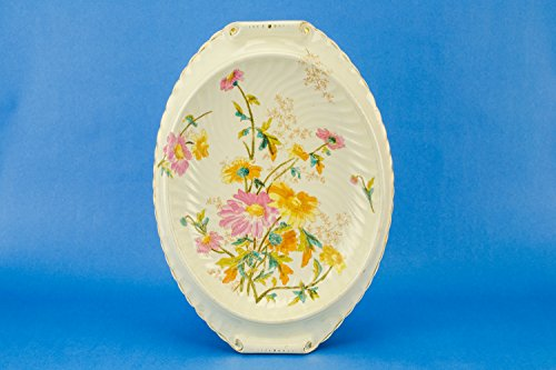Ceramic Aesthetic Movement Daisies Oval Large Antique Cheese PLATTER Opulent Cream Dish Christmas Food Cake English Circa 1880 LS -