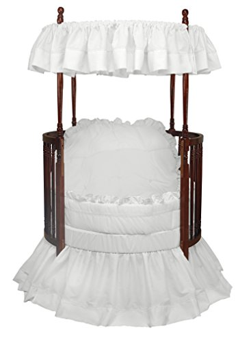 Baby Doll Bedding Regal Round Crib Bedding Set, White
