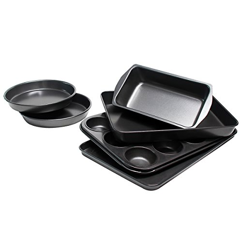 Bakeware Set, TOPTIER 6 Piece Nonstick Baking Pan Sets with Cookie Baking Sheets, Muffin Pan, Loaf Pan, Round Cake Pan, Roasting Pan for Professional Baking | Prime Housewarming & Wedding -