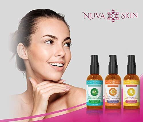 41x1rEijYJL - Nuva Skin Facial Serums 3 Pack- Vitamin C Serum, Retinol Serum & Hyaluronic Acid Serum- All-Natural Face Serum