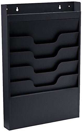 Buddy Products Task File Organizer Rack, Steel, 4 Pockets, 2 x 19.75 x 13.5 Inches, Black (0841-4)
