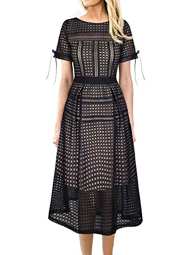yelet Mesh Patchwork Cocktail Party A-Line Midi Dress 2035 APT XL ()