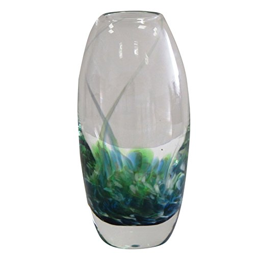 "Blown Glass Vessels - Handmade Decorative Flower Vase by Jerpoint Glass Ireland. Original Design 8.5"" Tulip Vessel in Hand-Blown Thick Glass (Green Seascape)"