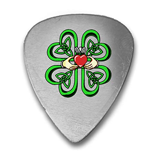 Irish Claddagh Ring w/Celtic Weave & Lucky Four Leaf Clover - 3D Color Printed Guitar and Bass Pick Gift Silver