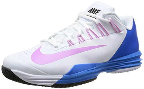 NIKE Lunar Ballistec Men's Tennis Shoe, White/Blue, US11.5 (Mens Nike Shoes Gray Tennis)
