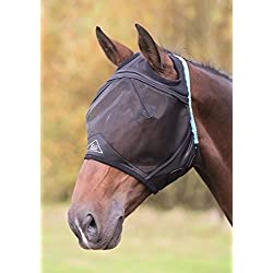 Shires Fine Mesh Fly Mask with Ear Hole - Black - Full