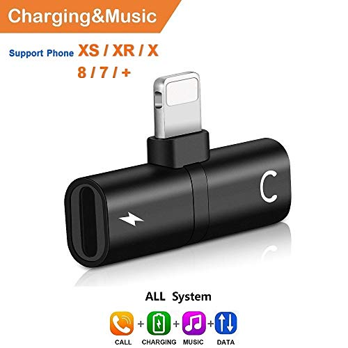 - EXECCZO Headphone Adapter Splitter Compatible with iPhone Xs Max X 7 8 Plus, 2 in 1 Dual Jack Aux Audio & Charging & Calling & Sync Cable Connector Earphone Charger - Black