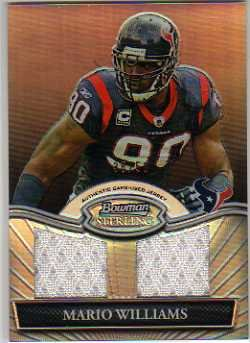 (2010 Bowman Sterling Black Refractors #BSRDRMWI Mario Williams Game-Worn Jersey Card Serial #'d/50 - Texans)