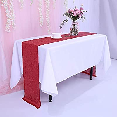 Superbe TRLYC 12 X 120 Inch Red Sequin Table Runner,Sequin Tablerunner Red