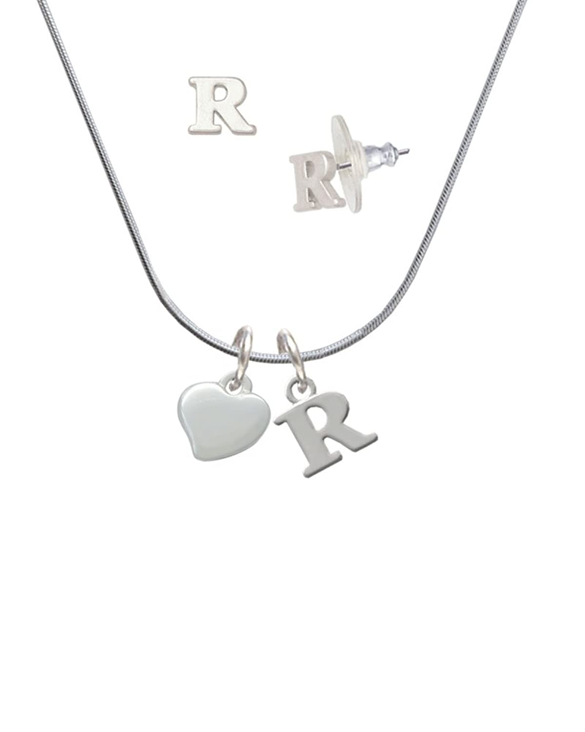 Small 2-D Puffy Heart - R Initial Charm Necklace and Stud Earrings Jewelry Set