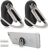 Leccod Multipurpose Mobile Phone Bracket Holder, Phone Ring Holder Finger Kickstand, 360° Rotation Metal Ring Grip,Car Air Vent Mount for All Smartphone (Black+ Black, 2Pack)…