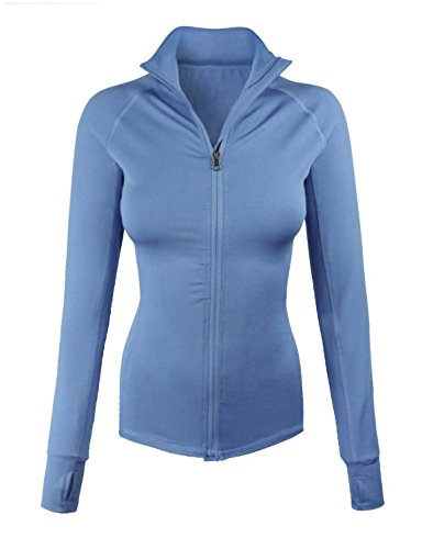 makeitmint Women's Comfy Zip Up Stretchy Work Out Track Jacket w/ Back Pocket MEDIUM YJZ0002_02BLUE from makeitmint