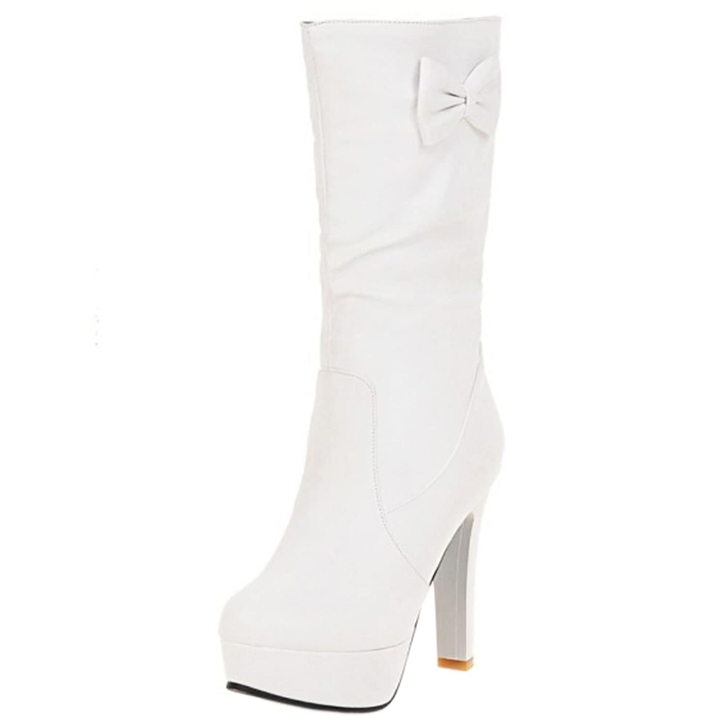 COOLCEPT Damen Mode Mid Calf Slouch Stiefel Hohe Ferse With Bogen White