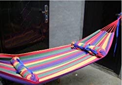 Canvas 200 X 150cm Double Hammock Tourism Camping Hunting Leisure Fabric Stripes