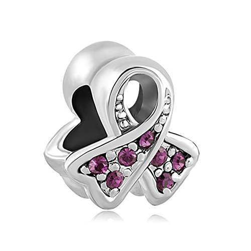 (Third Time Charm Breast Cancer Awareness Ribbon Charm European Bead with Purple Crystals)
