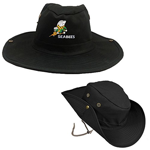(Seabees BEE Logo Military Outdoor Hiking Hunting HAT Soldier Boonie Bush Black )