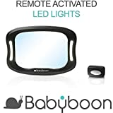 Baby Car Mirror LED Light - View Child in Rear Facing Car Seat with Superior View & Clarity. Babyboon Premium Mirrors are Carefully Designed for Safety: Shatterproof   Anti-Wobble Fixing Straps   360°