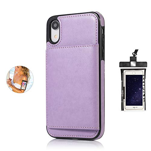 Dream2Fancy Leather Case for iPhone X Premium PU Leather Kickstand Card Slots Case with Free Waterproof Bag