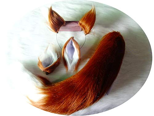Brown White Stitching Plush Ears T-Ail F-Ox Wolf Cosplay Props Cartoon Perform,T-Ail ()