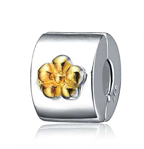 (Soulbeads Gold Plated Flower Clip Lock Charm Authentic 925 Sterling Silver Bead for Charms Bracelet)