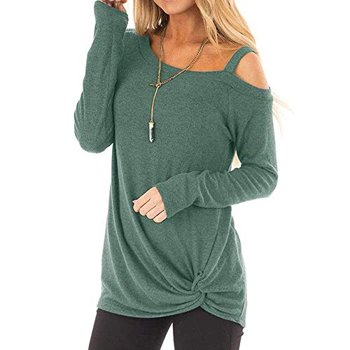 Sunmoot Clearance Sale Long Sleeve T-Shirt for Womens Tunic Tops Spring Summer Off Shoulder Cross V-Neck Short 3/4 Sleeve Sleeveless Knot Front Casual Loose Cotton Cold Shoulder ()