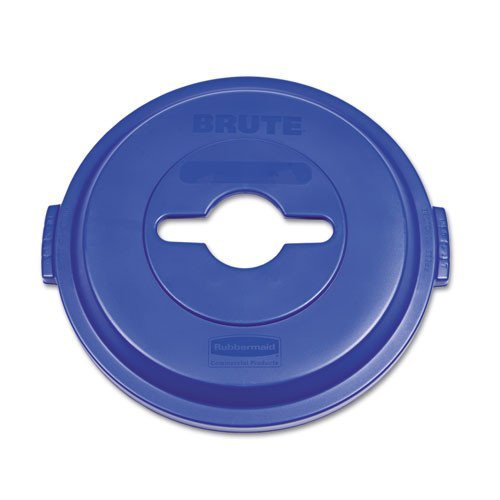 Rubbermaid Commercial Brute Plastic Single Stream Recycling Top, for 32 Gallon Container, 22.9-Inch Length X 9-51/64-Inch Width X 23-19/64-Inch Height, Blue (1788380) ()