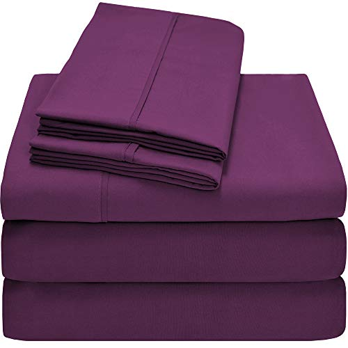 Bare Home Premium 1800 Ultra-Soft Microfiber Collection Sheet Set - Double Brushed - Hypoallergenic - Wrinkle Resistant - Deep Pocket (Split King, Plum) - Woven Plum