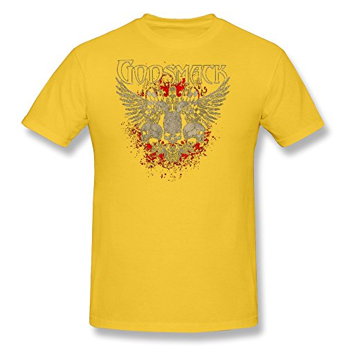 [LENOJE Men's Godsmack Halloween Skull Logo Cotton T Shirts Yellow XXL] (Customes Halloween Maternity)
