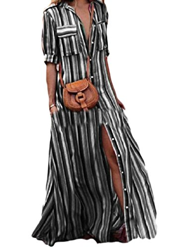 Down Coolred Split Pocketed Women Black Printed Stripes Shirtdresses Button Sexy wqnRXqgSZ