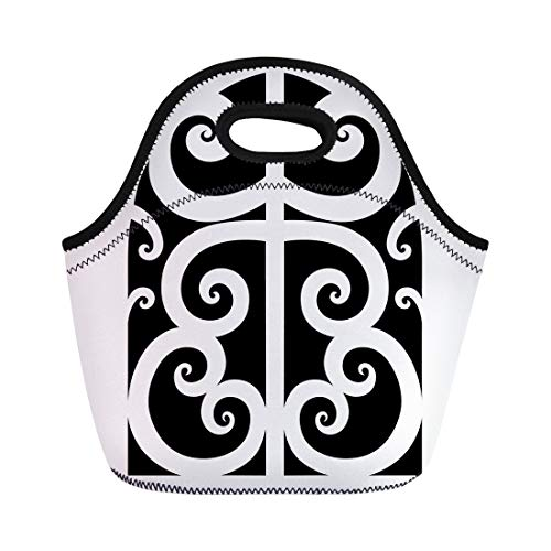 Tinmun Lunch Tote Bag Abstract Tattoo Maori Designs Tribal Sketch of Idea Arm Reusable Neoprene Bags Insulated Thermal Picnic Handbag for Women Men